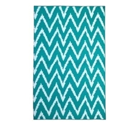 Fun Dorm Stuff - Wavy Chevron Dorm Rug - Teal and White - Great Decor For Dorms