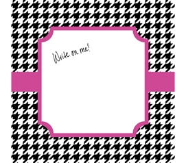 Cute Dorm Decor - Canvas Kudos - Signable Wall Canvas - Houndstooth Black And Bright Pink Design