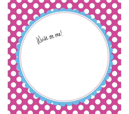 College Decorations for Girls - Canvas Kudos - Signable Wall Canvas - Scallop Circle Bright Pink And Blue