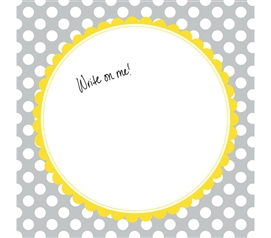 College Dorm Decorations -Canvas Kudos - Signable Wall Canvas - Scallop Circle Gray And Yellow