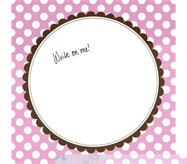 Cute College Supplies - Canvas Kudos - Signable Wall Canvas - Scallop Circle Light Pink And Brown