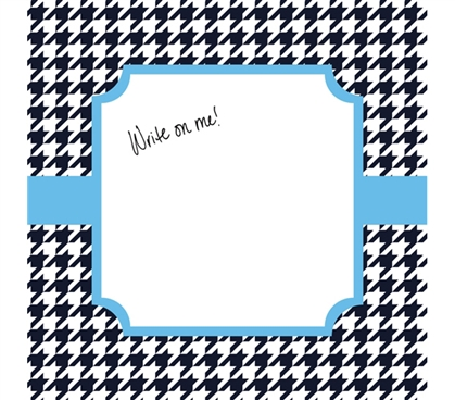 Dorm Wall Decor - Canvas Kudos - Signable Wall Canvas - Houndstooth Navy And Light Blue