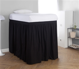 Extended Dorm Sized Bed Skirt Panel with Ties - Black