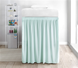 Extended Dorm Sized Bed Skirt Panel with Ties - Hint of Mint (For raised or lofted beds)