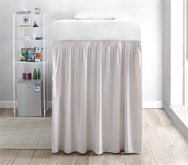 Extended Dorm Sized Bed Skirt Panel with Ties - Jet Stream (For raised or lofted beds)