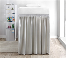 Extended Dorm Sized Bed Skirt Panel with Ties - Silver Birch (For raised or lofted beds)
