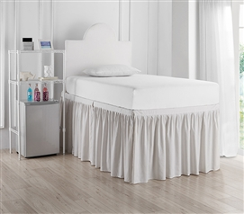 Dorm Sized Bed Skirt Panel with Ties - Jet Stream