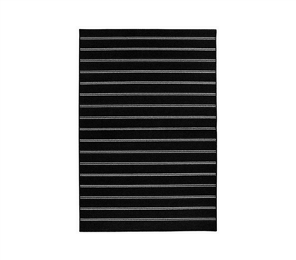 Comfier Than Hard, Cold Floor - Classic Stripes College Rug - Black - Make Your Dorm Look Great