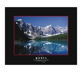 Goals Inspirational College Dorm Poster dorm room size poster offers a positive outlook through the mountains