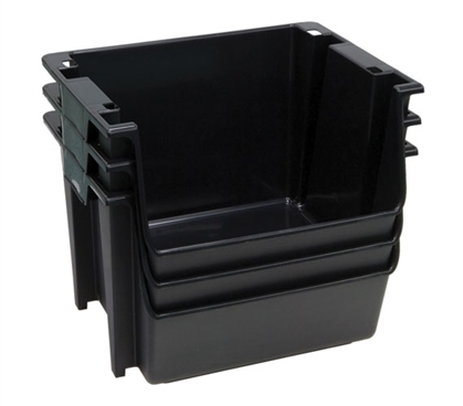 Large Stackable Dorm Storage (3 Bins) - Black