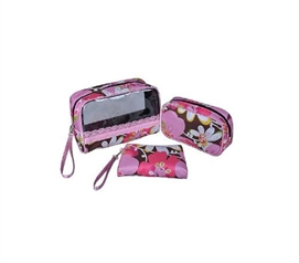 3 Piece Cosmetic Bag Set - Pink/Chocolate Floral