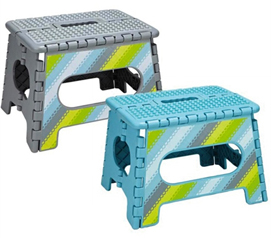 Use For Getting Into Bunk Bed - Collapsible Step Stool - Aqua & Grey - Super Practical