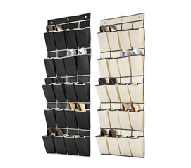 Every College Dorm Needs One - 20 Pocket Over the Door Shoe Caddy - Black and Cream