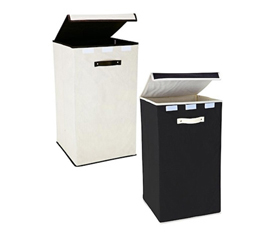 Collapsible Fold-Up Laundry Hamper - Black & Cream - Must Have Dorm Supply
