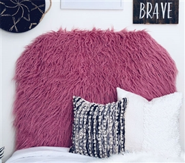 Pink College Decor Curly Yak Rosewood Furry Twin XL Bedding Dorm Room Headboard