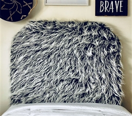 Furry Dorm Room Headboard for Twin XL Bed Mongolian Fur Grey Frost College Decor