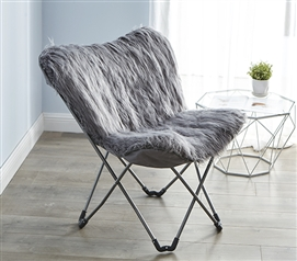 Fur Butterfly Dorm Chair - Dark Gray