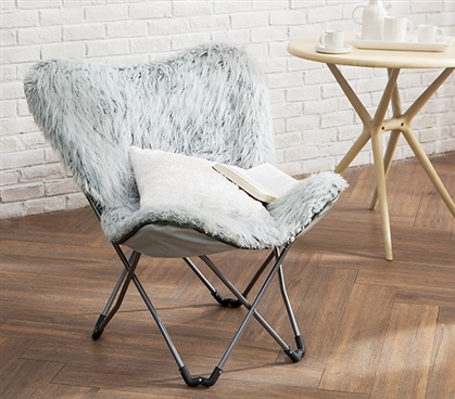 Gray College Seating Eccentric Fur Butterfly Dorm Chair Stylish Glacier Gray Dorm Room Furniture