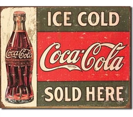 Tin Sign Dorm Room Decor classic coca cola advertisement in a tin sign for decoration for apartments and college dorms