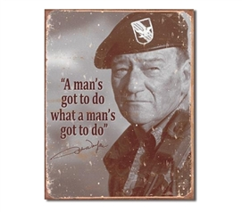 Tin Sign Dorm Room Decor serious John Wayne sepia photograph print on vintage tin sign for wall decoration
