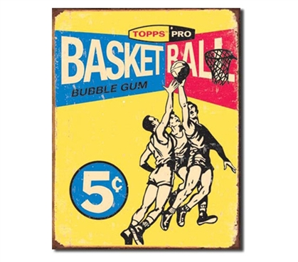 Tin Sign Dorm Room Decor old school basketball illustration on tin sign for dorms and apartments