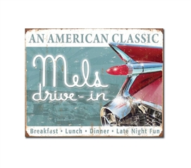 Tin Sign Dorm Room Decor Mel's drive in icon on tin sign for dorm wall and apartment wall decoration