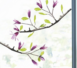 Beautiful Flower Branch Dorm Decor - Lovely Magnolia - Window Peel N Stick