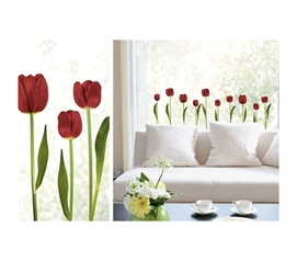 """Grow"" Beautiful Red Tulips In Your Dorm Room - Window Peel N Stick"