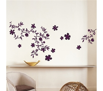 Midnight Purple Floral - College Dorm Peel N Stick Decorative Dorm Designs