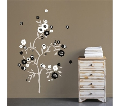 B & W Flowers - Peel N Stick Dorm Room Decorations Dorm Essentials