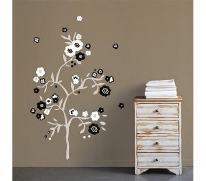 b w flowers peel n stick. Black Bedroom Furniture Sets. Home Design Ideas