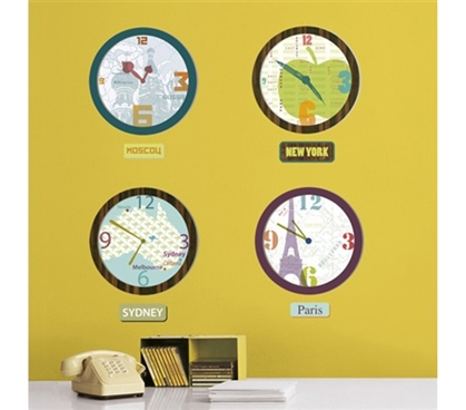 World Clock Art - Dorm Room Wall Peel N Stick Cool Dorm Stuff