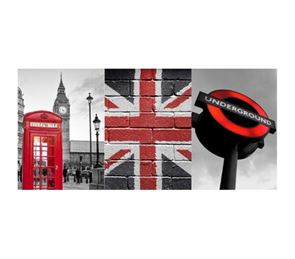 Cool College Essentials - London Red Panoramic Wall Art - Peel N Stick - Decorate Your Dorm