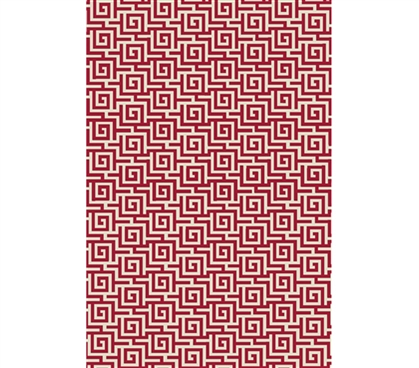 Egyptian Print College Rug - Crimson and Ivory