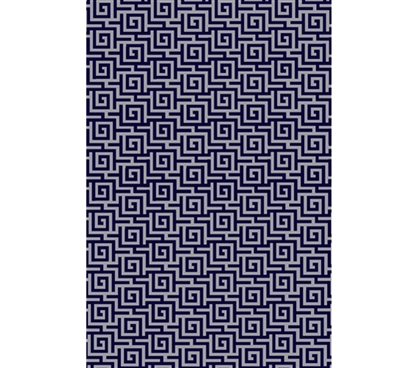 Egyptian Print College Rug - Navy and Gray