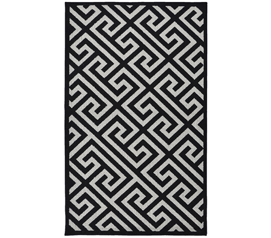 Greek Key College Rug - Black and Silver