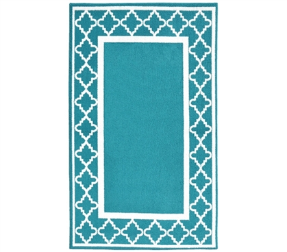 Simple Dorm Decor - Moroccan Frame College Rug - Teal and White