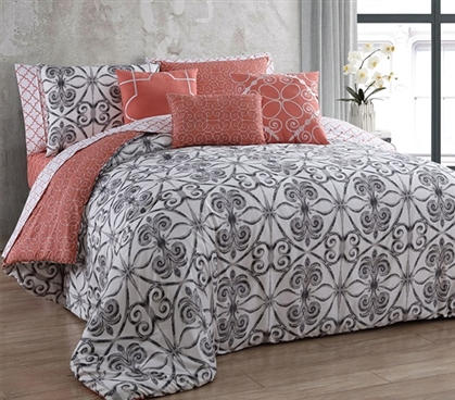 Peach Patterned Twin XL Dorm Comforter Extra Long Twin College Comforters Extra Long Twin Bedding
