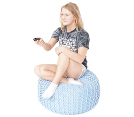 Hand Knitted Pouf Dorm Bean Bag Chair Dorm Furniture