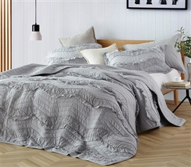 Gray Dorm Room Bedding Stylish Relaxin' Chevron Ruffles Design Single Tone Glacier Gray Twin Extra Long Quilt