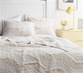 Off-White Jet Stream Relaxin' Chevron Ruffles Single Tone Quilt Stylish Dorm Room Bedding