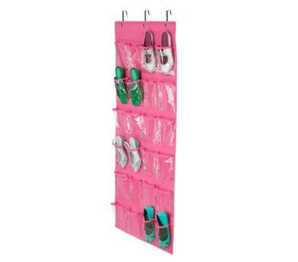 pink shoe organizer the door 24 pocket