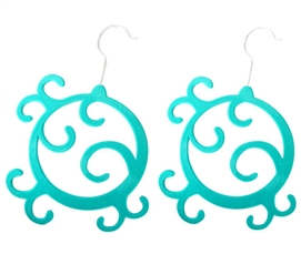 2 Pack Flocked Scarf Hanger - Enchanted Design - Turquoise Dorm Essentials Dorm Accessories