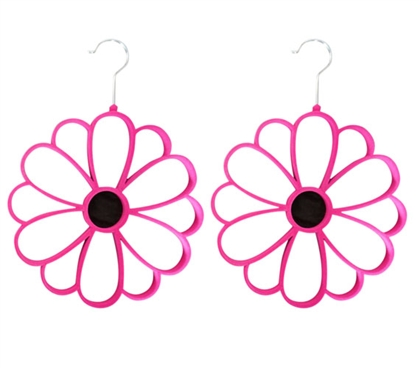 2 Pack Flocked Scarf Hanger - Flower Design - Hot Pink Closet Organizers Dorm Essentials