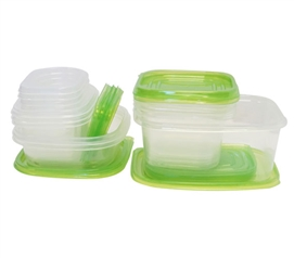 30 Piece Nesting College Food Storage Containers - Green