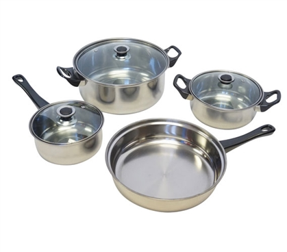 7 Piece Stainless Steel Dorm Cookware Set