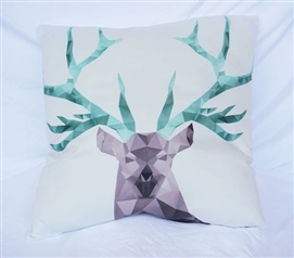 Cubism Deer - Cotton Throw Pillow