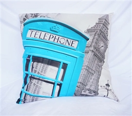 Telephone Box - Aqua - Cotton Throw Pillow