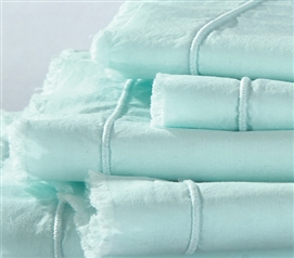 Hint of Mint Eyelash Textured Twin XL Sheet Set Extra Long Twin Sheets Dorm Bedding