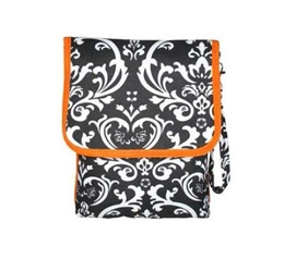 Orange Trim Damask iPad Bag